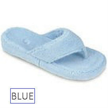 Acorn spa thong slipper in blue.