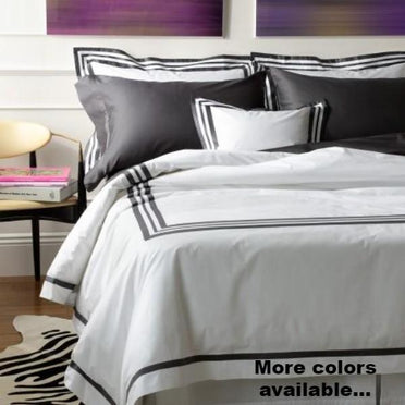 Allegro bedding collection shown in charcoal