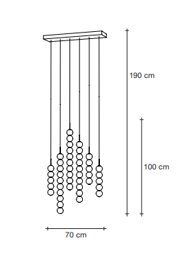 Drawing of 6 Strand suspension light