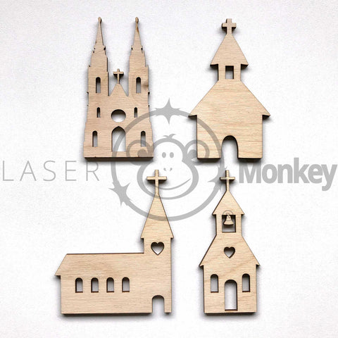 Wooden Birch Ply Churches Cathedral Blank Wedding Decoration 3mm Thick Blank