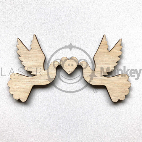 Birch Ply Wooden Love Doves Wedding Decoration 3mm Thick