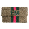 Beaded Half Flap Clutch - Personalized Stripe