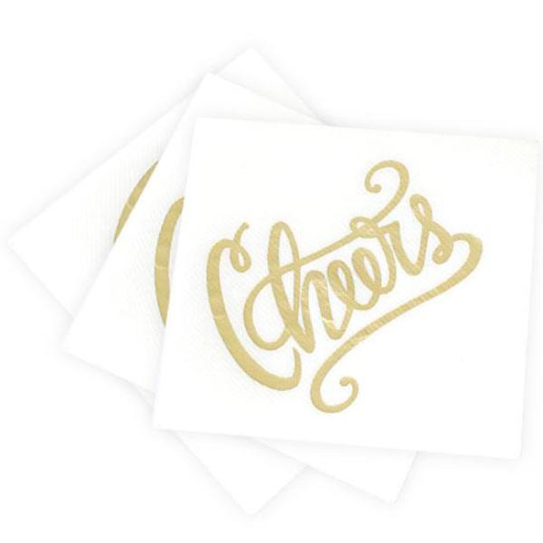 Cheers Cocktail Napkins - White & Gold