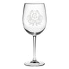 Monogrammed Thanksgiving Crest Red Wine Glass Set