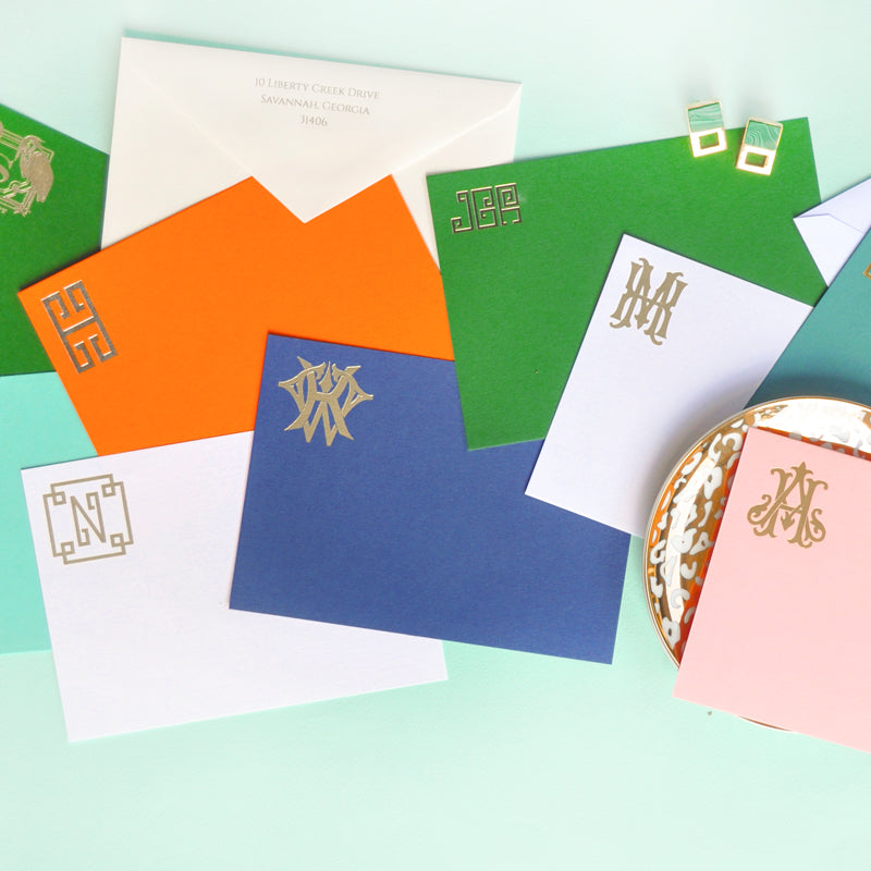 Monogrammed Flat Notecards