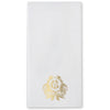 Monogrammed Thanksgiving Crest Faux Linen Dinner Napkins