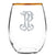 Monogrammed Gold-Rimmed Stemless Wine Set