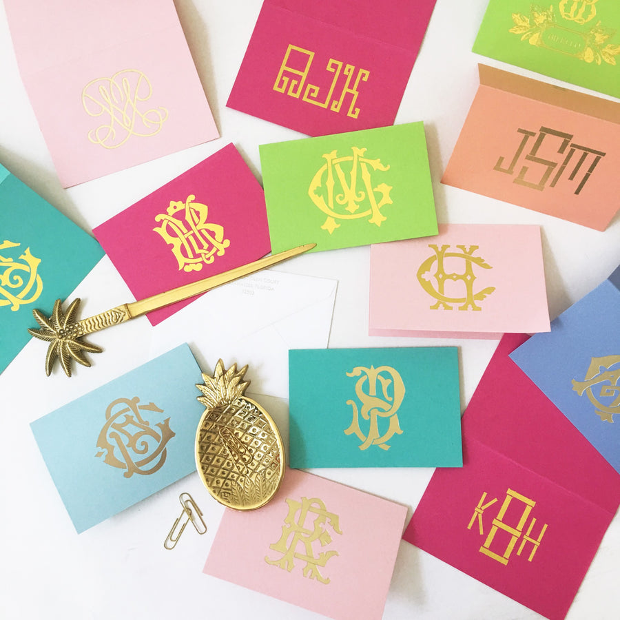 Monogrammed Folded Notecards