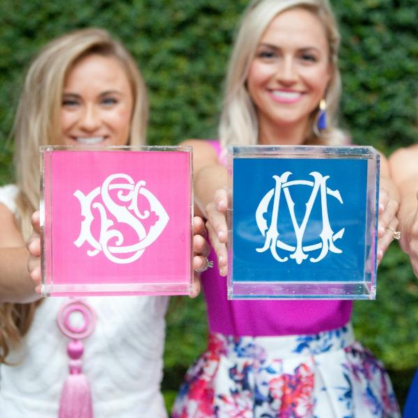 Monogrammed Lucite Catch-All Trays