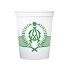 Monogrammed Stadium Cups - White & Clear