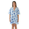 Savannah Caftan Dress - Spot Cheetah Bleu