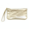 Leather Piper Wristlet- Metallic Platinum