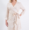 Long Sleeve Wrap Dress - Faux Bois