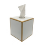 Colorblock Square Tissue Box Cover - White