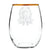 Set of 4- Thanksgiving Crest Gold Rimmed Stemless Wine Glass Set