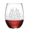 1-Letter Etched Initial Stemless Wine Glass