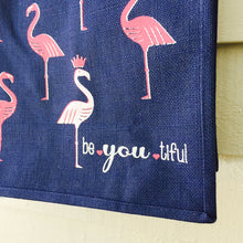 Be.You.Tiful Navy Jute Flamingo Tote