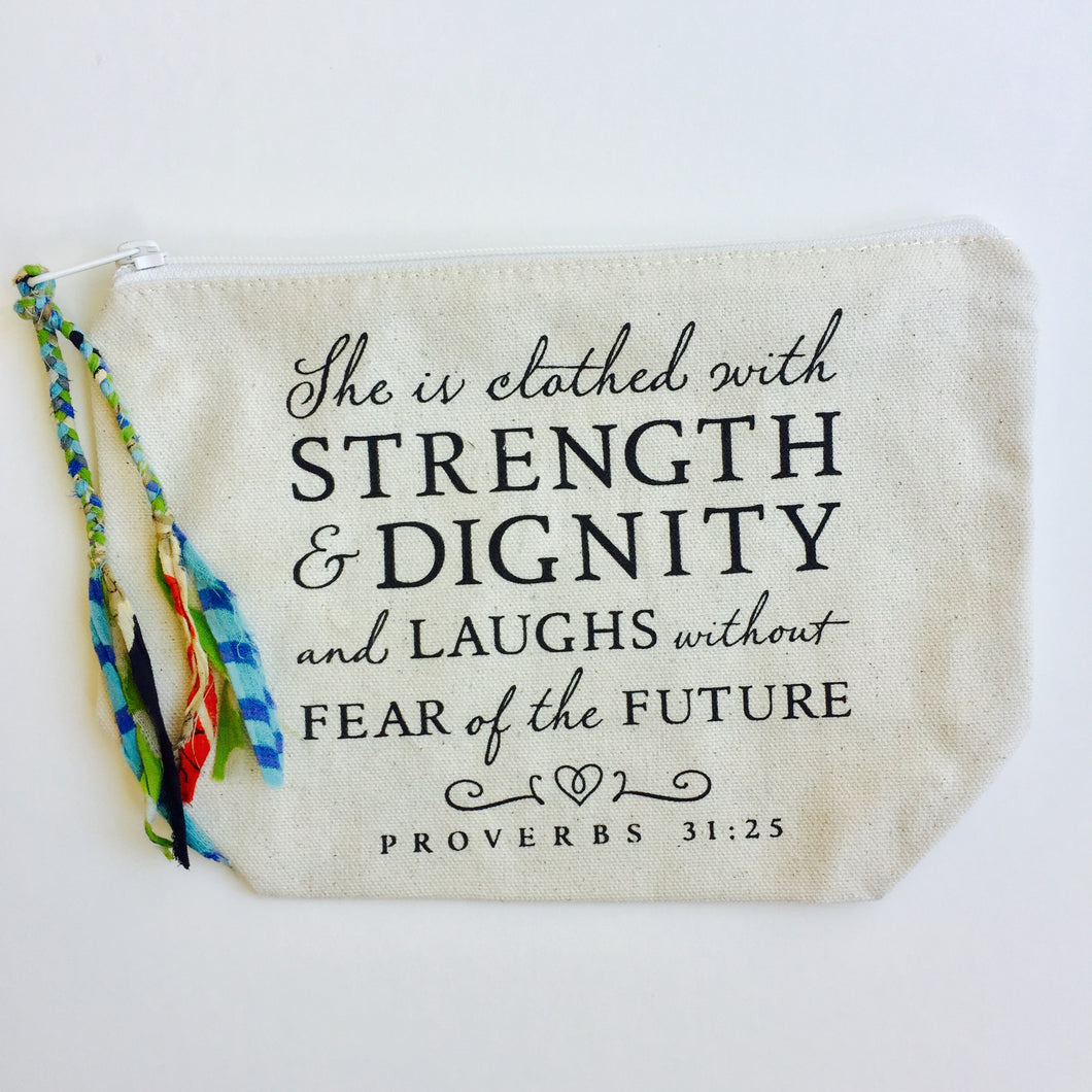 Proverbs 31 Quote Makeup Bag (Large)