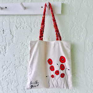 """See the Good"" Red Poppy Tote"