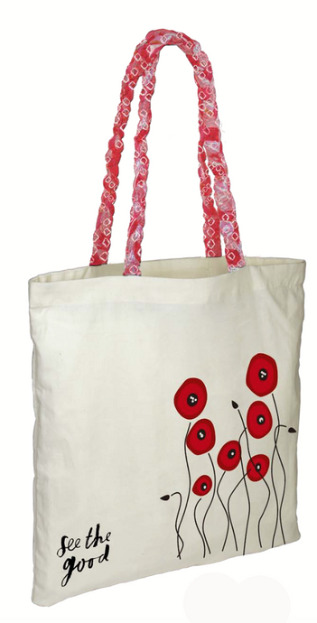 See the Good Red Poppy Tote