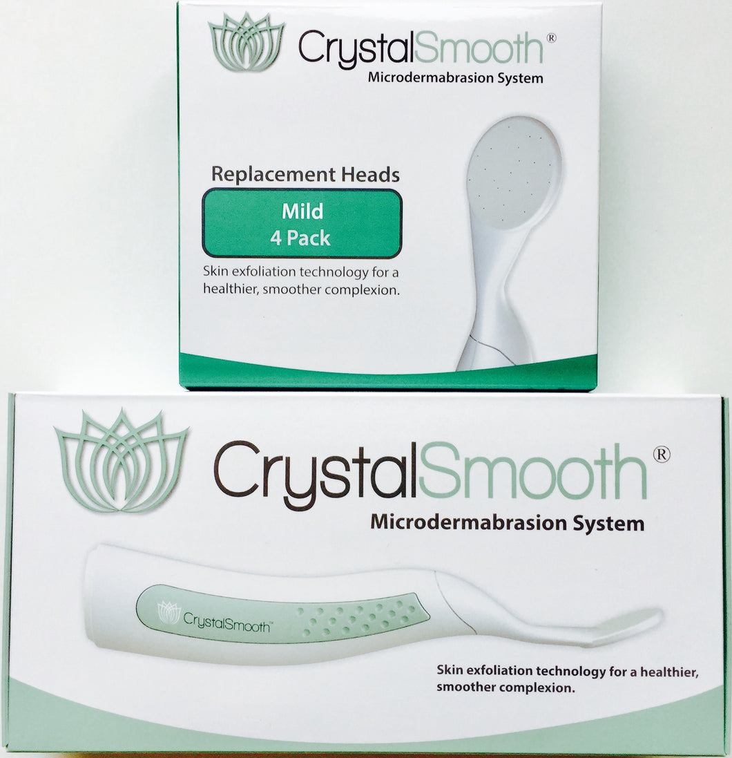 BEAUTY BUNDLE: CrystalSmooth Starter Kit AND 4-Pack of Mild Replacement Heads