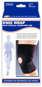 KNEE WRAP WITH PATELLAR STABILIZING PAD PACKAGING