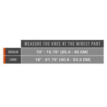 0476 / MULTILAYER KNEE WRAP WITH STABILIZER PAD / SIZE CHART