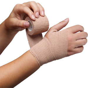 SELF-ADHERING ELASTIC BANDAGE BEING APPLIED TO HAND