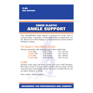 BACK OF SHEER ELASTIC ANKLE SUPPORT PACKAGING