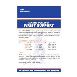 BACK OF ELASTIC PULLOVER WRIST SUPPORT PACKAGING