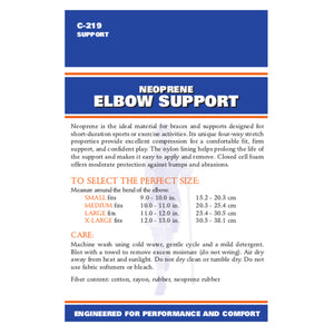 BACK OF NEOPRENE ELBOW SUPPORT PACKAGING
