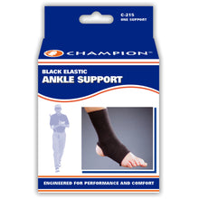 FRONT OF BLACK ELASTIC ANKLE SUPPORT PACKAGING