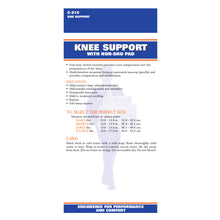 BACK OF NEOPRENE KNEE SUPPORT WITH HOR-SHU PATELLA STABILIZER