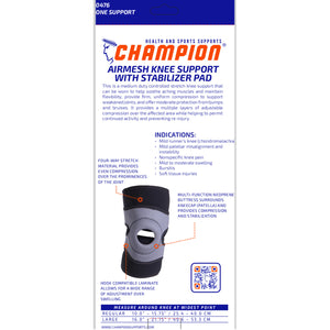 BACK OF MULTILAYER KNEE WRAP WITH STABILIZER PAD PACKAGING