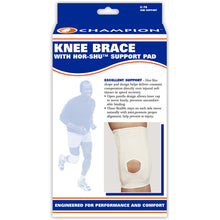 FRONT OF KNEE BRACE WITH HOR-SHU SUPPORT PAD PACKAGING