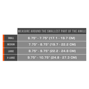 AIRMESH ANKLE SUPPORT SIZE CHART