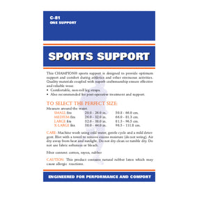 BACK OF SPORTS SUPPORT PACKAGING