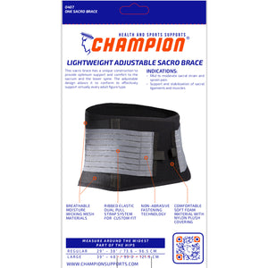 BACK OF LIGHTWEIGHT ADJUSTABLE SACRO BRACE PACKAGING