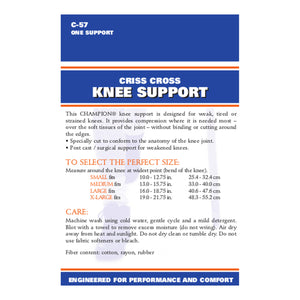 BACK OF CRISS-CROSS KNEE SUPPORT PACKAGING