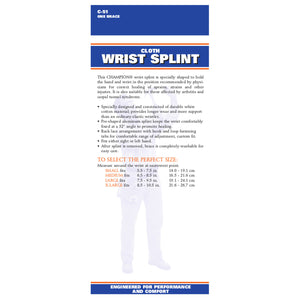 BACK OF REVERSIBLE CLOTH WRIST SPLINT PACKAGING