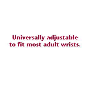 TEXT STATING ELASTIC BANDAGE IS UNIVERSALLY ADJUSTABLE TO FIT MOST ADULTS