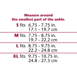 SHEER ELASTIC ANKLE SUPPORT SIZE CHART
