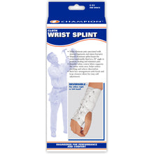 FRONT OF REVERSIBLE CLOTH WRIST SPLINT PACKAGING