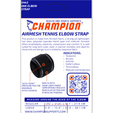 BACK OF AIRMESH TENNIS ELBOW STRAP PACKAGING