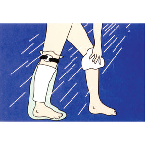 ILLUSTRATION OF CAST PROTECTOR HALF-LEG BEING USED IN SHOWER