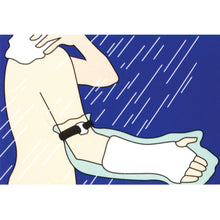 ILLUSTRATION OF CAST PROTECTOR HALF-ARM BEING USED IN SHOWER