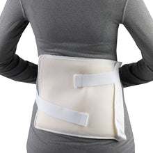 "THERMA-KOOL REUSABLE HOT / COLD COMPRESS 8"" X 10"" ON THE BACK OF A WOMAN WEARING A GREY SHIRT"