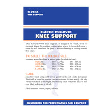 BACK OF FIRM ELASTIC KNEE SUPPORT PACKAGING