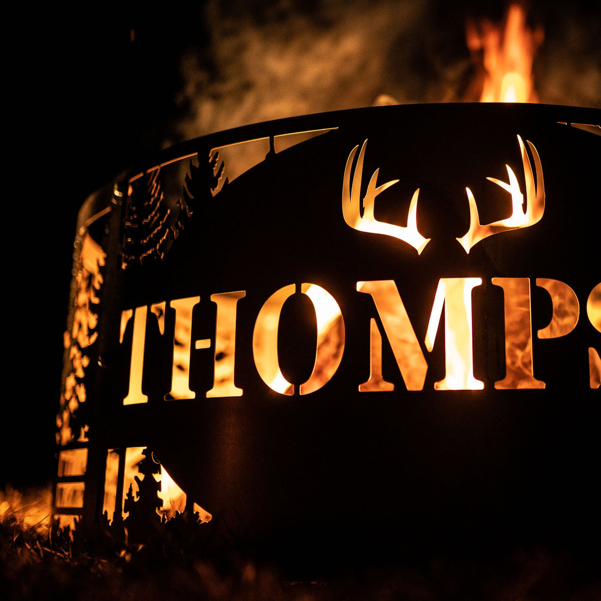 Personalized Deer Scene Fire Pit Ring