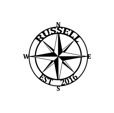 Personalized-10 - Nautical Compass Monogram